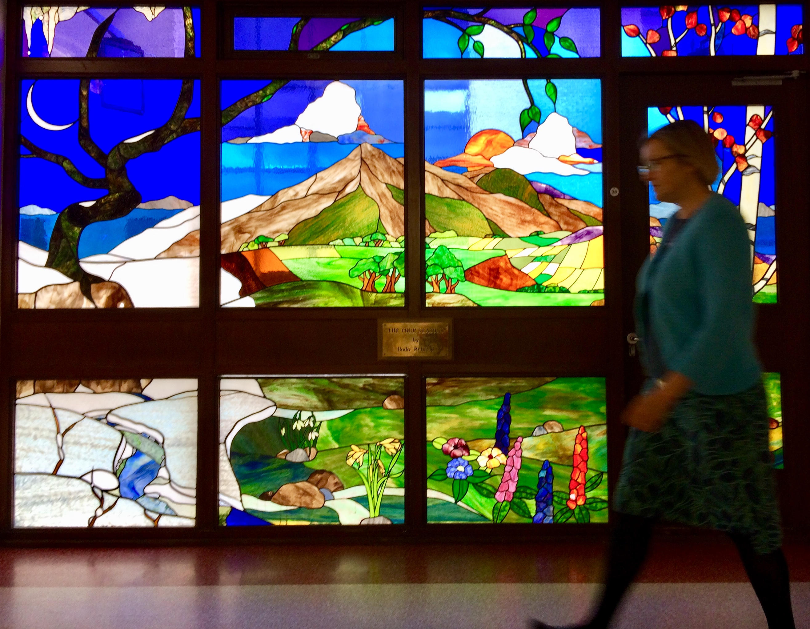 stained glass mural at Raigmore Hospital, Inverness.